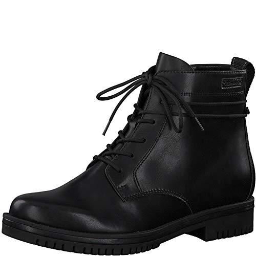 Tamaris Damen Stiefeletten, Frauen Schnürstiefelette,lose Einlage, halb-Stiefel schnür-Bootie übergangsschuh weiblich,Black MATT,38 EU / 5 UK