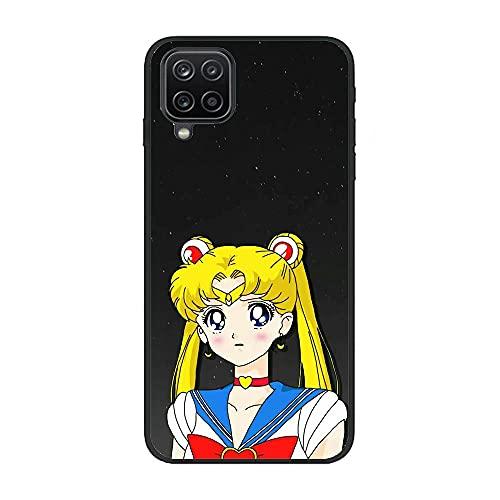 Easterm Soft Black TPU Rubber Liquid Shell Case Coque for Samsung Galaxy A12 5G, Sailor-Moon Pretty Soldier-Girl 4