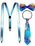 Kostüm Zubehör Sets Beinhalten Leuchtend LED Y Back Hosenträger, Vorgebundene Fliege und Krawatte...