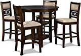 New Classic Furniture Gia 5-Piece Counter Dining Set with 1 Table and 4 Chairs, 42.25-Inch, Cherry