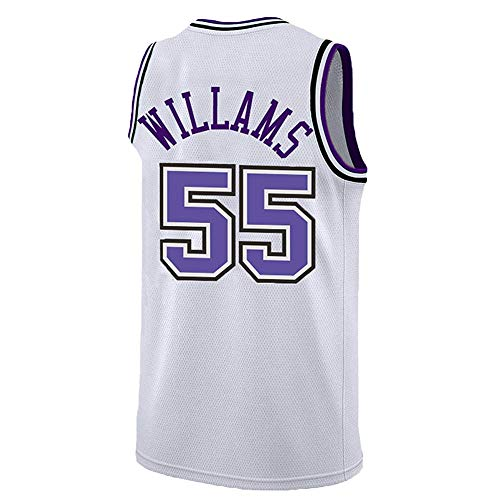 Williams Kings 55# Hombres Camiseta de Baloncesto- Chocolate Blanco Neutral Retro Malla Transpirable Camiseta de Baloncesto Superior Gimnasio Chaleco Deportivo transpiración Secado rápido