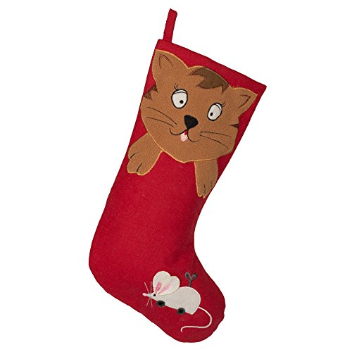 Seasons Designs 19 inch Cat with Toy Mouse Red Christmas Pet Stocking