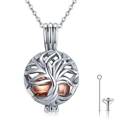 Ashes Necklace, 925 Sterling Silver Tree of Life Urn Necklaces for Ashes Cremation Ashes Keepsake Memorial Necklace Jewellery for Men Mom Grandma Dog Pet Ash Holder Pendant with Fill Kit and Gift Box