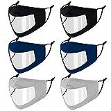 Genovega 6 PCS Clear Face Mask Large Shield Transparent Plastic Window for Women Men Adult Deaf,Reusable Breathable Designer Anti-Fog Cloth Madks with Earloop Visible Mouth Nose Cover Black Grey Blue
