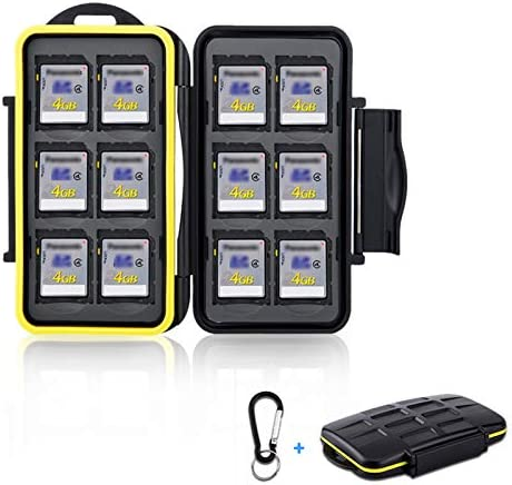 12 Slots SD Card Case Holder Water Resistant Anti Shock SD Card Holder Storage with Carabiner product image