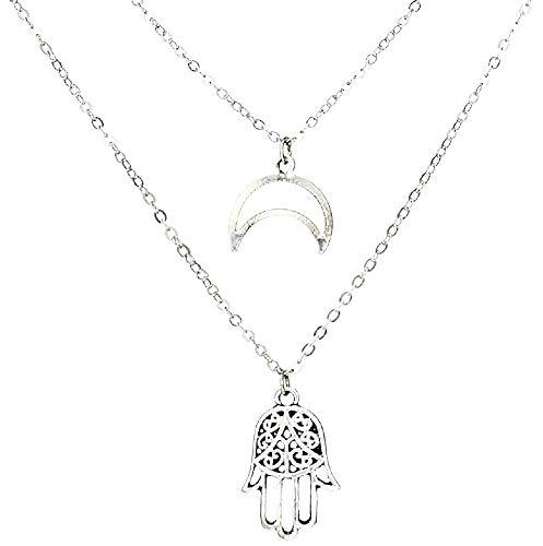 Hand van fatima ketting - maan - boeddha - meerlagig - multidraad - origineel origineel cadeau idee - twee strengen - kerstmis - vrouw - meisje - sieraden - verjaardag - zilver