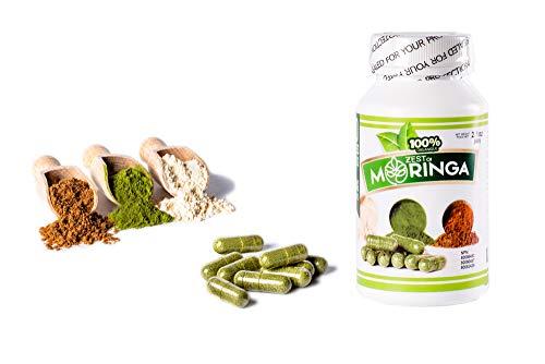 Organic Moringa Capsule Supplement (100 Capsules - 500MG) - Made with Moringa Oleifera Roots, Seeds & Leaf Powders - Non-GMO & Gluten Free - Energizing Superfood by Zest Of Moringa