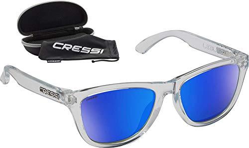 Cressi Leblon Sunglasses Gafas de Sol Deportivas con Estuche Rígido, Adultos Unisex, Hielo Claro Crystal-Lentes Espejadas Azul, Un Tamaño
