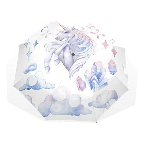ISAOA Paraguas de Viaje automático, Paraguas Plegable, diseño de Unicornio de Acuarela, Ultraligero, protección UV, asa compacta para fácil Transporte para Mujeres y Hombres