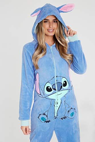 Disney Stitch Pijama de Una Pieza para Mujer Hombre, Monos Enteros Suaves Capucha, Pijamas Invierno Mujer Polar, Accesorios Oficiales Lilo y Stitch