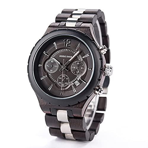 yuyan Reloj de Madera for Hombres Mayores, Banda de Acero Inoxidable, Luminoso, Reloj de Madera de Wood Watche, Material de Madera, Saludable, Natural, Moda, Navidad