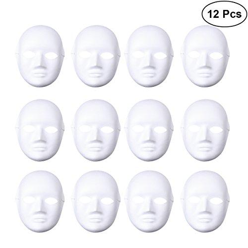 OULII Full Face DIY Maske Halloween Blank Malerei Maske Cosplay für Maskerade Halloween Party Gefälligkeiten (6pcs männlich und 6pcs weiblich)