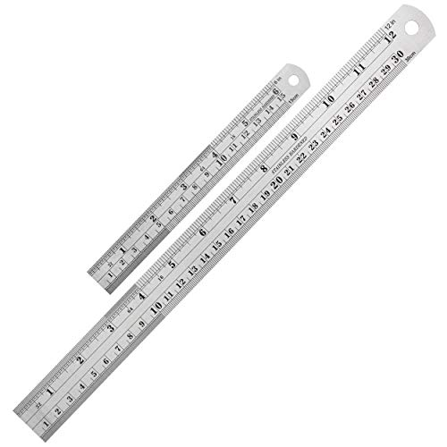 Mr. Pen Steel Rulers, 6 inch and 12 inch Metal Rulers, Pack of 2