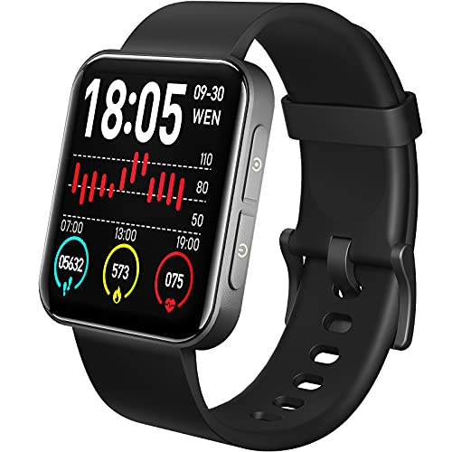 TOZO S1 Smart Watch Bluetooth 5.0 Activity Tracker with Heart Rate Monitor Sleep Monitor Pedometer and Calorie Counter IPX8 Waterproof 1.54-inch Touchscreen Compatible with iPhone & Android Phones