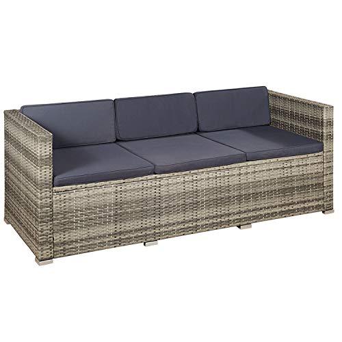 ArtLife Polyrattan Lounge Punta Cana L grau-meliert – Gartenlounge für 4-5 Personen – Gartenmöbel-Set mit Sessel, Sofa, Tisch, Hocker – Bezüge Dunkelgrau - 3