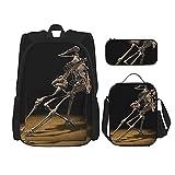 Back to School Supplies Halloween Scary Horror Skeleton Skull Students 3 en 1 School Backpack Set Lightweight Backpack / Lunch Bag / Pencil Case para niñas