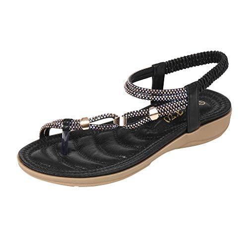DFMNE Sandalen für Frauen Mädchen Damen Frühling Sommer Bohemia Kristall Strand Flops Flip Casual Fashion 2019, Schwarz - Schwarz - Größe: 38 EU