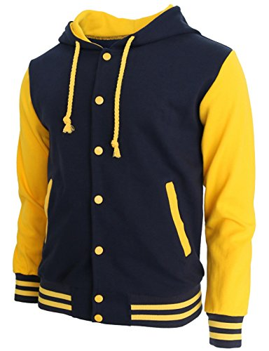 BCPOLO Hoodie Baseball Jacket Varsity Baseball Jacket Cotton Letterman Jacket Navy-Yellow-L