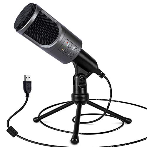 Pioplex USB Condenser Microphone for Computer, Plug&Play Streaming Mic with Mute and Adjustable Stand, USB Microphone Kit for Recording Audio,Gaming, Podcasts, Skype, YouTube