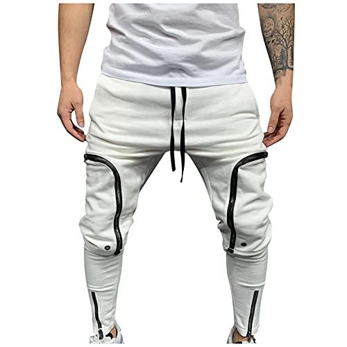 Herren Chino Hosen Jogginghose Chino Cargo Jeans Hosen mit Taschen Trainingshose Sporthose Stretch Fitness Slim Fit Casual Freizeithose Hip Hop Pants mit Reißverschluss Decoration (Weiß, XL)
