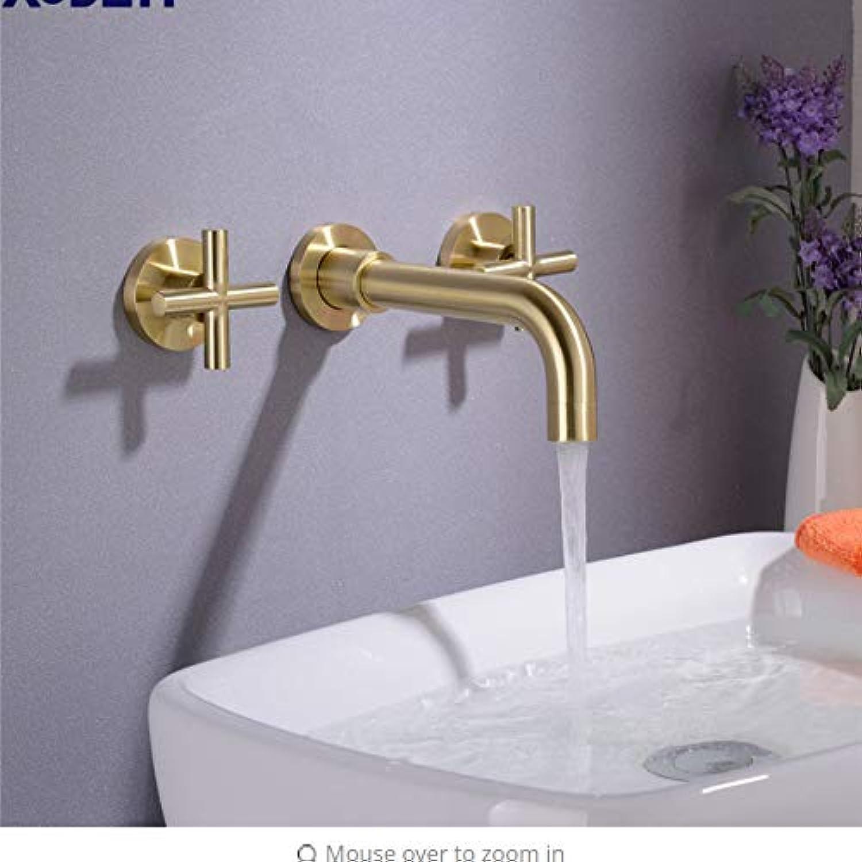 Lddpl Mattschwarz Messing Doppelgriff Wand Waschbecken Wasserhahn Hot & Cold Becken Wasserhahn Schwarz Wasserhahn
