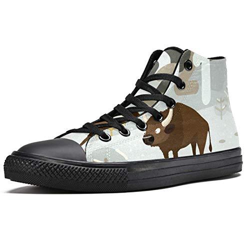 Anmarco Bull on Snowland High Top Sneakers Moda Encaje Up Canvas Zapatos Casual Escuela caminar zapatos para hombres adolescentes niños, color Multicolor, talla 37 1/3 EU