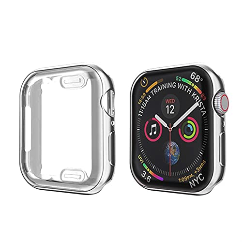 LLMXFC Soft 360 Slim Watch Cover For Apple Watch Case 6 5 4 3 2 1 42MM 38MM Soft Clear TPU Screen Protector For IWatch 4 3 44MM 40MM (Color : Sliver, Dial Diameter : 38MM)