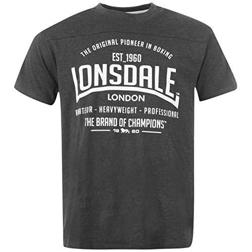 Lonsdale - Camiseta de manga corta para hombre, cuello redondo, camiseta de estilo deportivo gris oscuro XXXXL