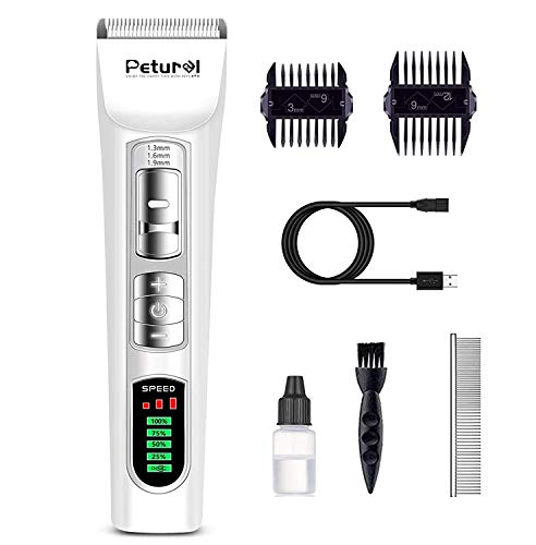 Petural Pet Hair Clippers-Dog Grooming Clippers Powerful-3 Speed Cordless Dog Clippers for Grooming Rechargeable-Professional Dog Trimmers Clippers-Heavy Duty for Small/Medium/Large Dogs&Pets