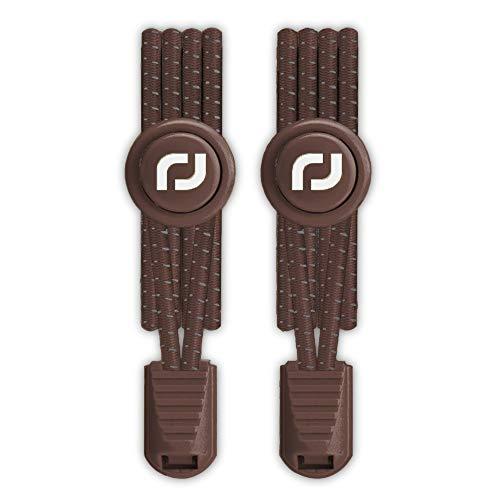 RJ-Sport Elastische Schnürsenkel mit Schnellverschluss - Schnellschnürsystem für Einzigartigen Komfort und Starken Halt (Nummer 004 - Reflektierendes Braun)