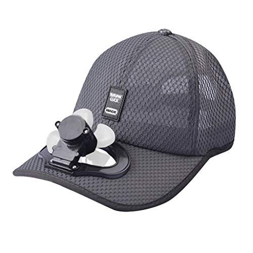 FeiliandaJJ Sommer Baseball Kappe mit Mini Ventilator, USB-Aufladung Mesh Atmungsaktiver Schatten Sonnenschutzhut (Dunkelgrau)