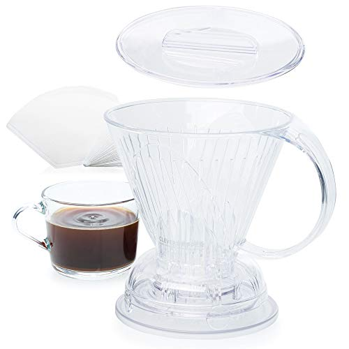 Clever Coffee Dripper and Filters, Large 18 oz (Clear)| Barista's Choice | Safe BPA Free Plastic | Includes 100 Filters