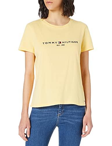 Tommy Hilfiger Th Ess Hilfiger C-nk Reg Tee Ss, Camiseta sin mangas Mujer, Blanco, M