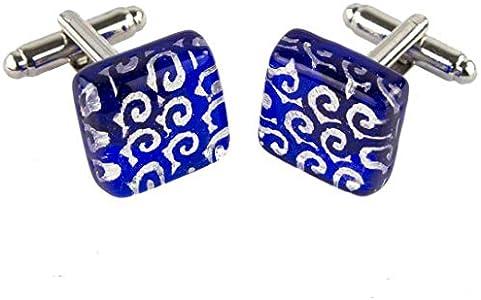 Gemelos de Cristal de Murano OMG, Color Azul Oscuro
