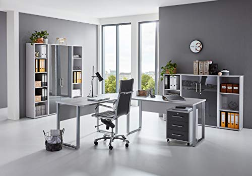 moebel-dich-auf.de Arbeitszimmer TABOR PRO 5 in diversen Farbvarianten (lichtgrau/anthrazit Hochglanz)