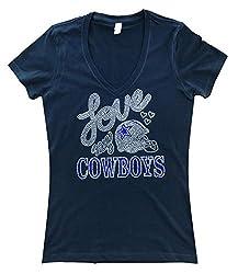 Rhinestone Dallas Cowboys Football V-Neck T-Shirt Bling