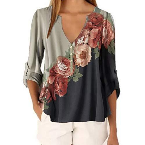 Damen Bluse Chic Blumen Drucken V-Ausschnitt T-Shirt Damen Casual 3/4 Hülse V-Ausschnitt Chiffon Bluse Sweatshirt Damen Freizeit Bequemer Lose Bluse T-Shirts Tops S