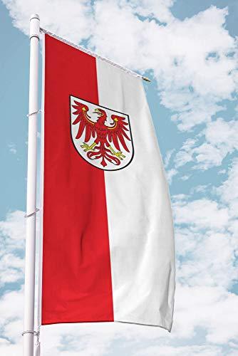 Deitert Bundesland-Flagge Brandenburg – 80x200 cm Brandenburg Flagge mit Wappen, Fahne für Ausleger aus reißfestem Polyester