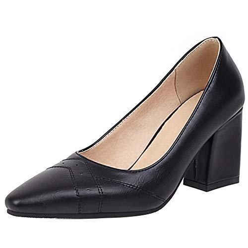 scarpe eleganti donna senza tacco NIGHT CHERRY Donna Elegante Tacco a Blocco Pumps Appuntito Vestito Scarpe Senza Chiusura Festa Pumps Black Numero 32 Asiatico