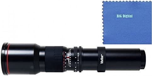 Vivitar 500mm f/8 Telephoto Lens For The Sony Alpha Series SLT-A33, SLT-A35, SLT-A37, SLT-A55, A57, SLT-A57, SLT-A57M, SLT-A57K, A58, SLT-A58, SLT-A58K, A65, SLT-A65V, SLT-A65VL, A77, SLT-A77, A77II, A99, SLT-A99V, A100, A200, A230, A290, A300, A330, A350, A380, A390, A450, A500, A560, A550, A580, A700, A850, A900 Digital SLR Cameras