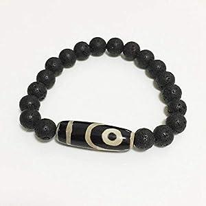 Stein Natürliche Tibetanische Dzi-Agate Armbänder Vintage Schwarz Lava Schmuck Charme Neun Eye DREI Auge Achftet Armbänder Für Männchen-Oval Zwei Augen