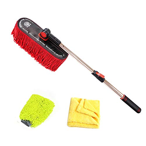 Car Duster Exterior with Extendable Stainless Steel Handle, Car Duster Brush Paraffin Wax Treated Cotton Fibers with Storage Bag, Dirt Dust Pollen Pickup, Safe on Painted Finish, Plastic Windshield