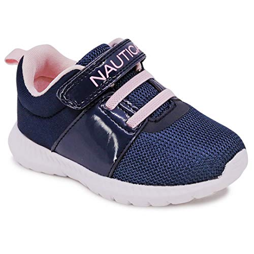 Nautica Kids Girls Fashion Sneaker Athletic Running Shoe with Stap for Toddler and Little Kids-Pruitt-Navy Pale Pink-8