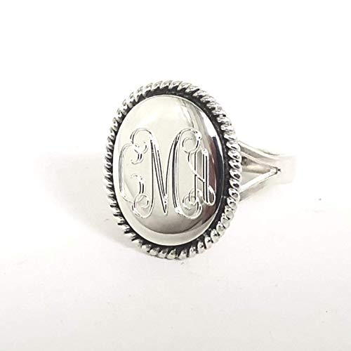 Nautical Rope Monogram Oval Sterling Silver Ring
