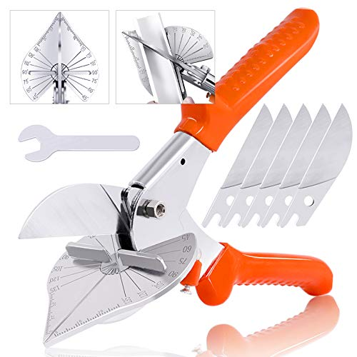 Hilitchi Upgraded Multi Angle Miter Shear Cutter Cuts 45 to 135 Degree Miter Snips Cutting Tool for Small Miter Jobs and DIY Projects with 5 Replacement Blades and Spanner