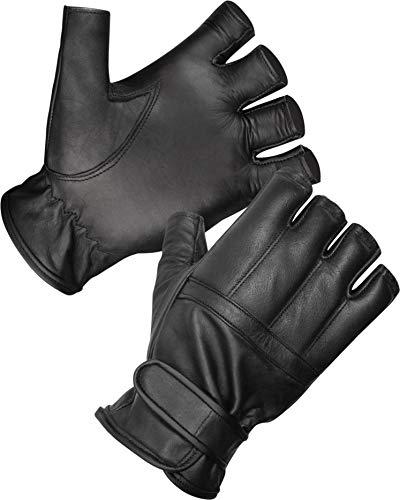 normani Blei Handschuhe ohne Finger aus Rindsleder/Security Sommer Handschuhe S-3XL Farbe Schwarz Größe M