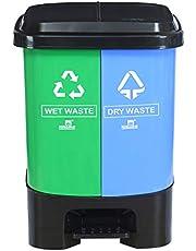 Nilkamal 10 Liter Twin Dustbin,Green/Blue/Black