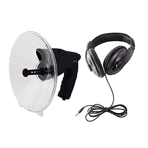 OMKMNOE Micrófono direccional de Antena parabólica, Bandeja monocular del Amplificador de Sonido, telescopio para Escuchar Aves,Negro