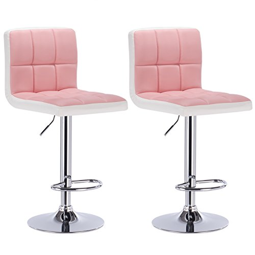 WOLTU BH40rsw-2 2 x Barhocker Tresen Stuhl Drehhocker Kunstleder Lounge 2 farbig Rosa+Weiss