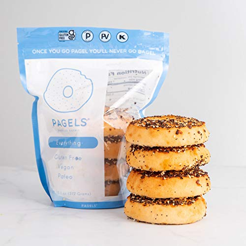 Pagels - A Paleo Certified, Gluten-Free Bagel | 100% Grain Free, No Preservatives, and Taste Amazing! | 8 Pagels - Two Bags (Everything)